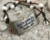 Leather and Pearl Bracelet with Plaque