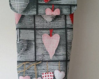 Handmade plastic carrier bags holder storage with flap. Grey with red or blue hearts.