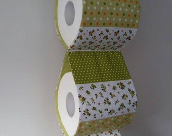 Practical decorative Toilet paper Holder storages / white and green / For 3 rollst