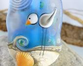 1 SEAGULL - FOCAL-BEAD-  artisan lampwork bead. Handmade by German glass artist Sabine Frank