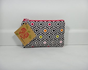 Geometric Small Cosmetic Bag, Small Pouch, Makeup Bag, Small Pouch Purse, Small Cosmetic Pouch, Zipper Pouch, Makeup Pouch