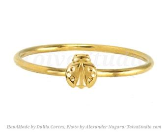 Solid Gold Ladybug Ring-14k Ladybug Ring