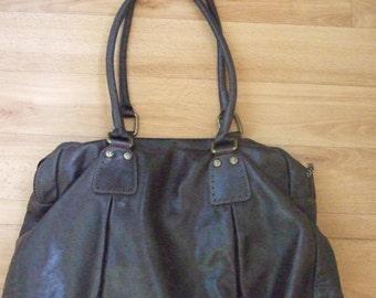 Ferchi quality large genuine leather designer handbag dark brown made in Spain excellent condition