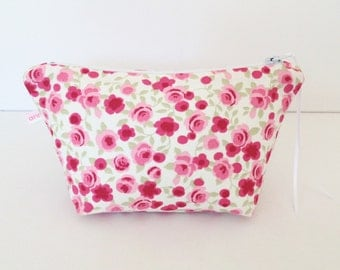 Ditsy Rose Cosmetic Bag, Make Up Bag, Pouch