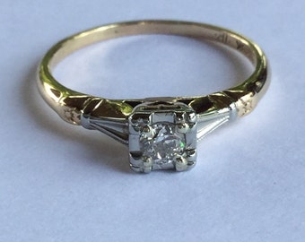 Vintage Art Deco White and Yellow Gold Diamond Engagement or Right Hand Ring, .17 Pts