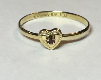 Vintage 10k Yellow Gold Ruby Heart Ring, Baby or Pinky Signed Disney