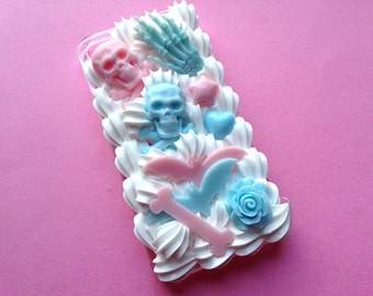 Pastel Goth Decoden Phone Case for iPhone 4 / Ready to Ship Creepy Cute Decoden Case