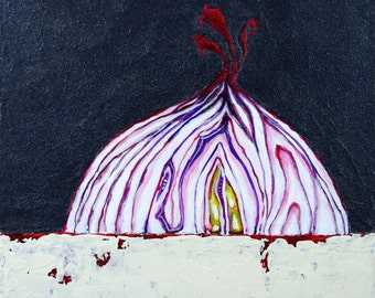 RED ONION-   Original Contemporary Red Onion Painting, Mixed Media Acrylics-