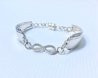 Inspirational Bracelet Women , Infinity Charm Bracelet , Spoon Jewelry , Unique Gifts Women , Christian Jewelry Women , Eco Friendly Jewelry