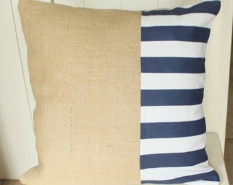 Linen and Hessian Cushion