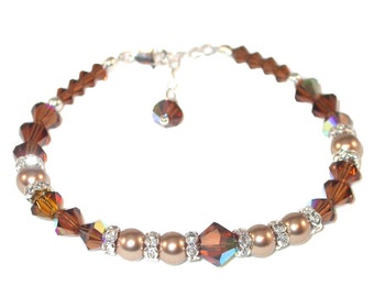 SMOKED TOPAZ Crystal BRONZE Pearl Bracelet Sterling Silver Swarovski Elements