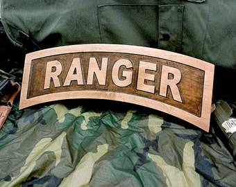 18 Inch Rustic Army Ranger Tab Pocketed Wood Carving on Hard Maple Wood With Hanging Attachment