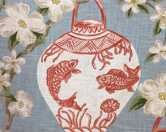 Coral - Light Blue - Chinoiserie - Asian Lanterns - Upholstery Fabric by the Yard - Drapery Fabric