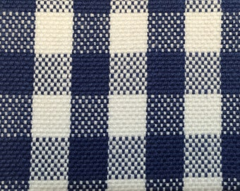 Navy and White Small Check -  Navy and White Plaid - Woven Upholstery Fabric