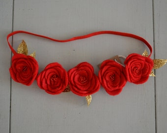 Felt Flower Crown in Ruby