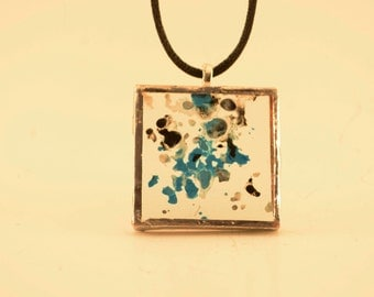 Blue, Black, White Melted Crayon Glass Pendant