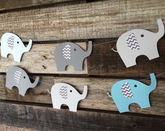 Elephant Party Garland with Gray Chevron Ears - Baby Shower, First Birthday, Photo Prop, Birthday Party