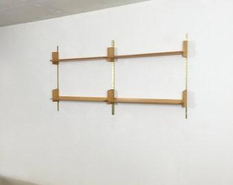 Wall Unit helmut magg   WK Möbel Furniture 50s germany   midcenrtury modern   elm wood   wall unit shelving system   String Eames Panton era