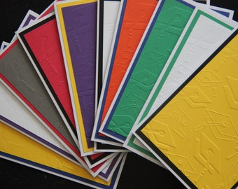 10 Embossed Graduation Cards.  School Color Graduation Cards.  Graduation Thank You Card Set.  Graduation Cap Embossed Card Set