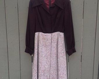 Vintage Garfinckels brown tweed two toned dress!