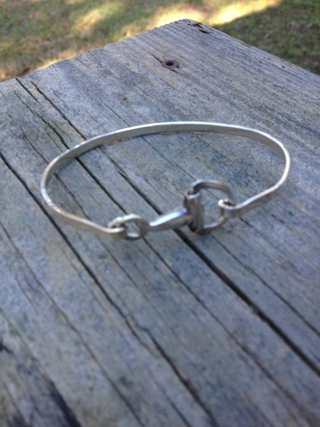 Sterling Silver Snaffle Bit Bangle Braxelet Fits Up To