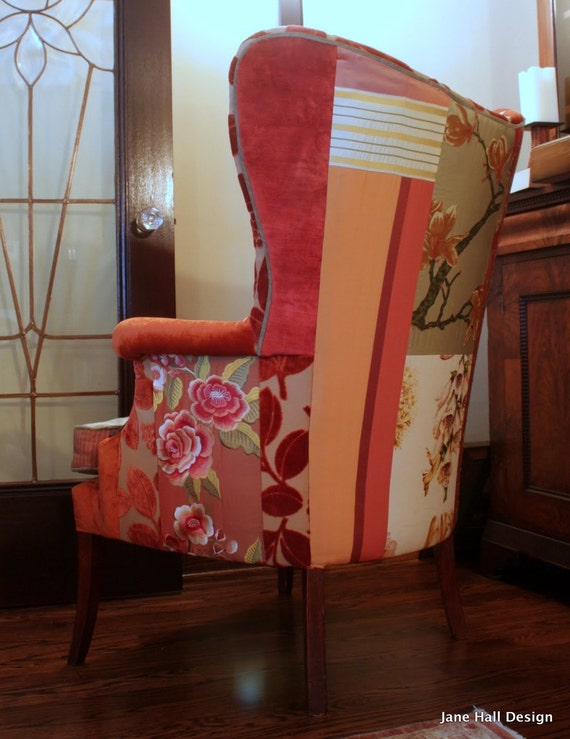 Upcycled Vintage Upholstered Fan Back Chair Bohemian Style