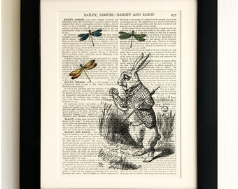FRAMED ART PRINT on old antique book page - White Rabbit, Dragonflies, Alice Wonderland Vintage Wall Art Print Encyclopaedia Dictionary Page