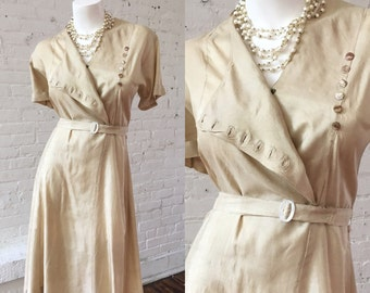 1940s Light Gold Dress with Buttons