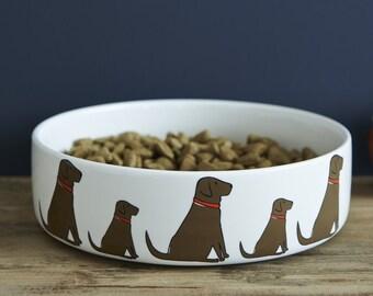 Labrador ceramic dog food / water bowl (Black, Yellow & Chocolate designs)