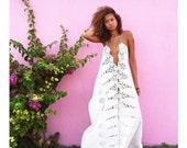 Cotton Lace Dress, White Summer Dress, White Cotton Dress, Cotton Draped Dress, Flowing White Dress, Loose Summer Dress, Cotton Lace Dress