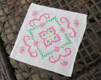 Linen Squares - Embroidered - 24 Squares - Vintage