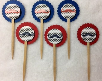 Set Of 12 Red White & Blue Mustache Cupcake Toppers (You Choice Of Any 12)