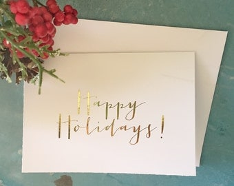 Real Foil Happy Holidays Cards + Envelopes (set of 8) - Christmas Card - Greeting - Gold