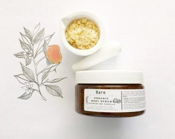 BODY SCRUB Clementine Vanilla ~ O r g a n i c ~Raw Sugar Scrub with Coconut Sugar & Chia Seeds ~ Skin Polish | VEGAN |