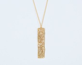 NEW necklace Rectangle Mineral gold, fine chain, high plating quality