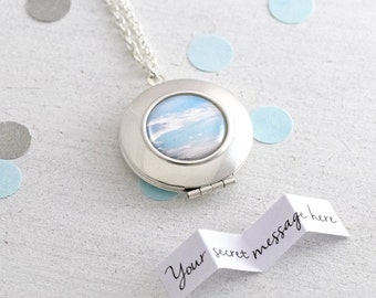 Sky Locket, Personalised Locket, Secret Message Locket, Locket Necklace, Blue Sky, Silver Locket, Custom Necklace, Bridesmaid Jewelry