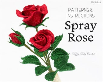 Crochet Spray Rose Pattern - Crochet Pattern for Decor and Arrangements - Crochet Flower Pattern