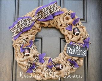 Baltimore Ravens Go Ravens Burlap wreath, football wreath, sports wreath