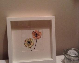 Textile Art Flower Picture