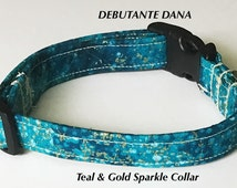 Teal & Gold Collar for Girl Dogs and Cats