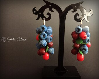 Jewelry with berries, Berry Jewelry, Food jewelry, Summer berry Earrings, Blueberry Earrings, Cranberry earrings, Blueberry jewelry