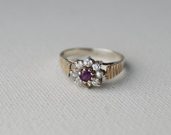 Vintage Sterling Silver Cluster Ring - Vintage Silver Ring - Vintage Cluster Ring - Vintage Daisy Ring - Vintage Engagement Ring size J or 5