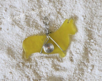 Glass Corgi Pendant-Yellow