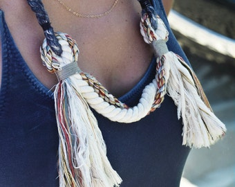 hand dyed necklace / rope necklace / textile / fiber art / Ranran Design