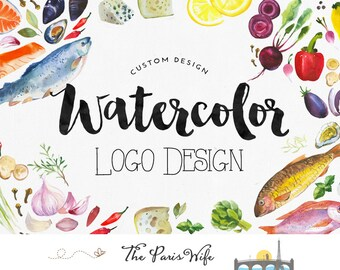 custom logo design watercolor food logo boutique logo ecommerce website logo blog logo watermark logo business logo restaurant logo design