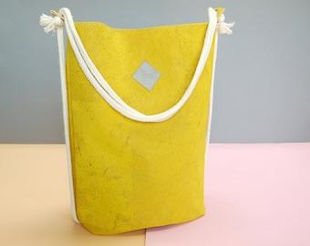 """vegan bag """"Clari"""", backpack cork, yellow backpack, yellow bag, cork bag, 2 in 1 bag, faux-leather, minimalist bag"""