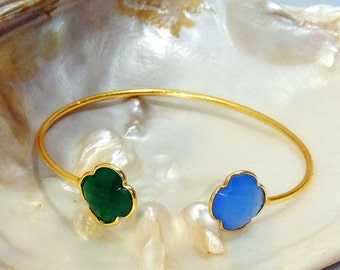 Blue chalcedony , green onyx Silver adjustable Bangle