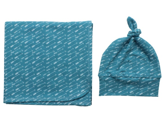 Blue Tribal Arrows Newborn Swaddle Set Swaddle Blanket Boy Top Knot Hat Boy Swaddle Set Arrows Blanket Jersey Swaddle Baby Blanket Teal Blue