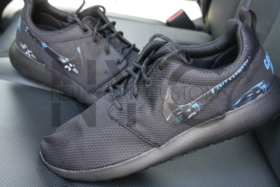 new arrival fc0d7 fd6bd Custom Nike Roshe One Carolina Panthers by customsxcario on Etsy