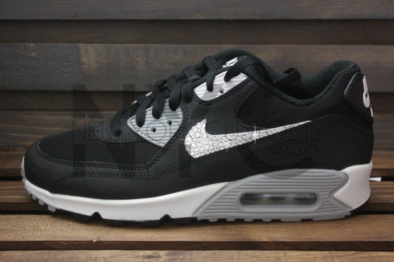 official photos a427c 1578b durable service Black White Nike Air Max 90 Swarovski Crystal Accent by  NYCustoms